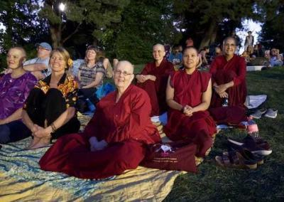 Vens. Jigme, Jampa, Nyima, and Kunga attend a pow wow in Spokane to learn more about the diversity of American culture.