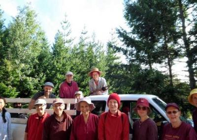 """Residents and guests ready to """"swarm"""" the knapweed in the forest."""