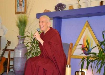 """Ven. Chodron also shares the Dharma at the Gardenia Center, teaching from her new book, """"Awaken Everyday."""""""