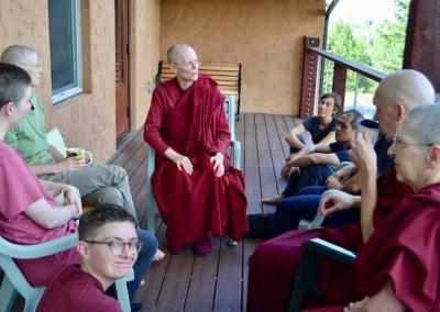 Ven. Tarpa take time with the EML-ers to answer questions on monastic life.