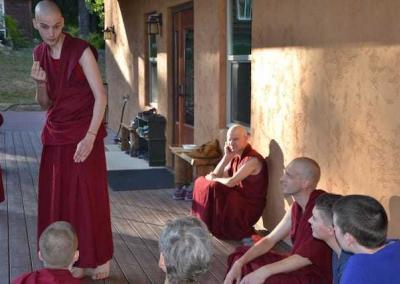 Ven. Tsondrue from Germany, also studying at Nalanda, gives us an impressive debate demo.