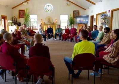 group of lay people and monastics