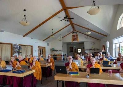 """The Sangha and guests say, """"Thank you!"""" with gratitude to Geshe-la, Joshua, and Diana who supports from behind the scenes."""