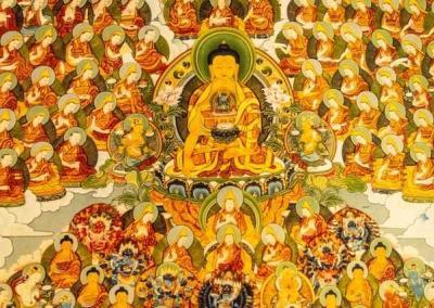 A friend offered the Abbey a beautiful painting depicting the Buddha's merit field. The Buddha is surrounded by holy beings such as arhats and bodhisattvas who are very accomplished on the path.