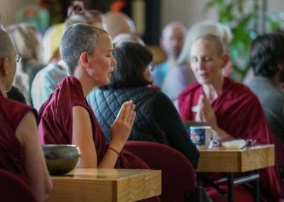 Before and after the meal, residents and guests offer prayers for our sponsors and for the well-being of all sentient beings.