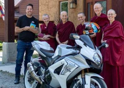 Brandon visited the Abbey to make an offering on behalf of his riding buddies in memory of a fallen, Buddhist-leaning friend.