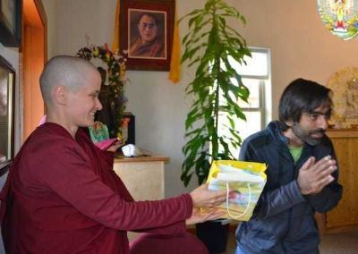 Kishan joined us for about two-and-a-half months to study, meditate and offer service with us. Ven. Jampa gives him the Abbey's thank you gift.