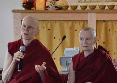 Vens. Tarpa and Samten lead a Q&A session after Ven. Chodron's morning teachings.