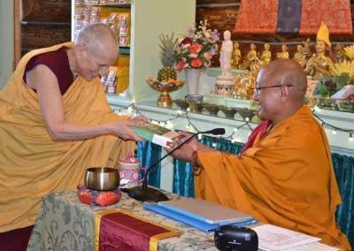 Ven. Chodron thanks Geshe-la his support with the Library of Wisdom and Compassion by offering a copy of the newest release, Volume 4!