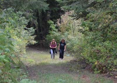 Kristi and Robin take a walk and have a talk in the forest.