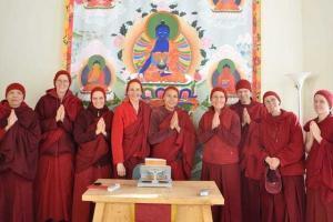 monastics in hats