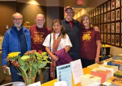 Our CdA Dharma friends offer a book table at Venerable's talk.