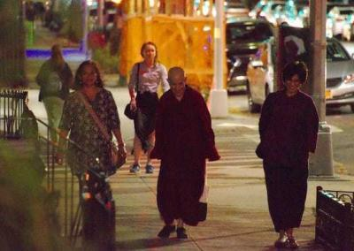 Ven. Chodron loves walks, and students take her on nighttime tour of the city