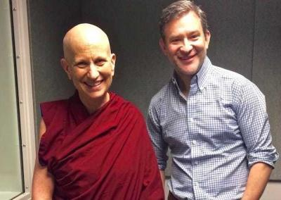 Ven. Chodron with ABC news correspondent, Dan Harris, who interviews her for his podcast.