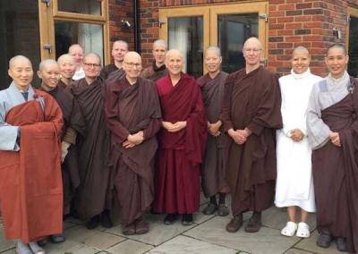 Nuns from Amaravati Monastery in UK are delighted with Ven. Chodron's visit.