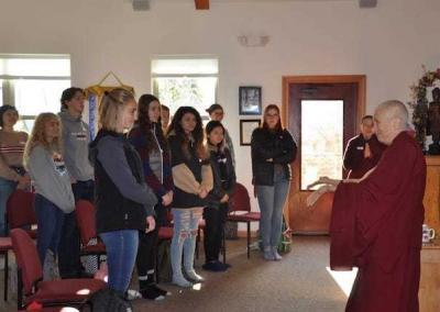 Ven. Chodron's warm and joyful attitude inspires the students, who are receptive to her sharing.