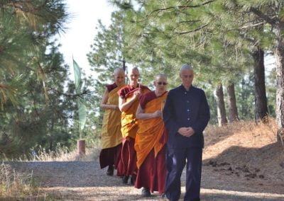 With the help of senior guides, Laresa invites Ven. Chodron to be her preceptor and to perform the anagarika ordination.