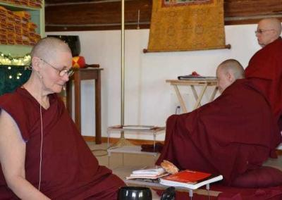 – Ven. Chonyi leads a meditation session to contemplate and integrate the teachings into our life.