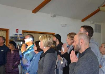 Guests offer food to the sangha, expressing their heartfelt wish to support those intent on virtue.