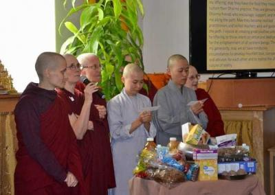 The monastics reply with their heartfelt aspiration to repay the kindness of the benefactors by studying, practicing and sharing the Dharma.