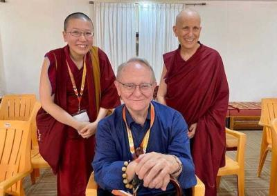 ens. Chodron and Damcho are delighted to connect with Dr. Jeffrey Hopkins in person after receiving teachings from him weekly over Skype for years.