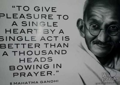 India is the land of Gandhi-ji, whose wisdom adorns billboards in airports and other public spaces.