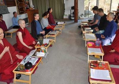 Reciting the mantra of compassion is an essential part of the Nyung Ne retreat