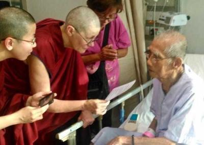 Before surgery, this 90-plus father with tremendous faith in Kwan Yin asked to take refuge and the five lay precepts. He is now recovering well.