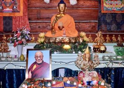 In front of the altar we place our beautiful statue representing Je Tsongkhapa and His Holiness the Dalai Lama as our spiritual guides.