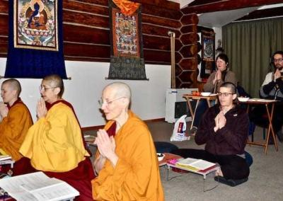 Residents and guests perform praises of gratitude to Je Tsongkhapa's great works.
