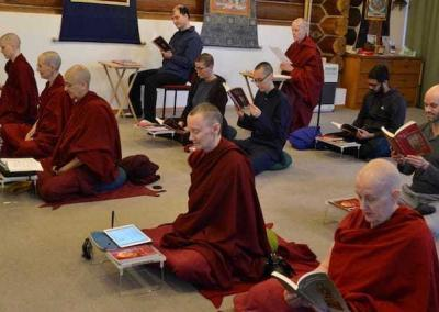 Residents and guests participating in the Abbey's annual reading of Shantideva's Bodhicaryāvatāra on Christmas Day. It's a most enjoyable and insightful experience to read these ancient and wise teachings.