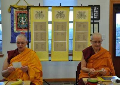 Vens. Yeshe and Semkye join everyone as we read out the dedications of our Dharma friends.