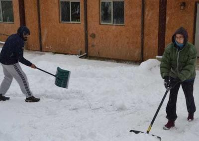 Like all the retreatants, Raga and Stacy offer wonderful help with snow removal.
