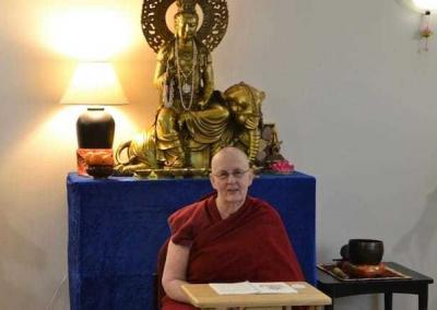 Ven. Jigme leads one daily Vajrasattva session to support the brand-new participants.