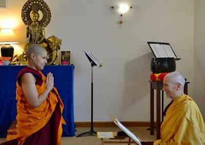 Our newest shiksamana, Ven. Kunga, makes her request of the abbess, Ven. Chodron, to participate in her first varsa retreat.