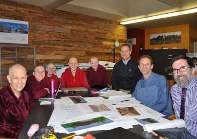 An Abbey team meets with the architect and acousticians to tweak the Buddha Hall design.