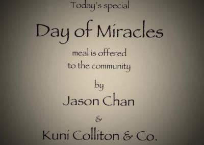 Jason Chan from Singapore, together with Kuni's Thai Cuisine, sponsor our Day of Miracles lunch.