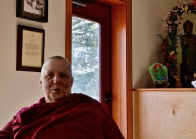 "Ven. Tsultrim shares her steady smile and ease: ""May all beings be endowed with the twelve ascetic virtues."""