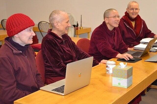 Nuns prepare for meeting on Buddha Hall.
