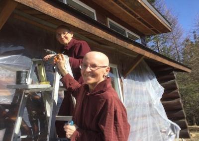 Nuns work on Meditation Hall.