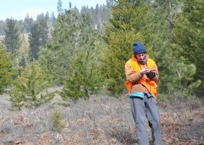 Person surveys land.