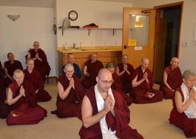 Monastics pray.
