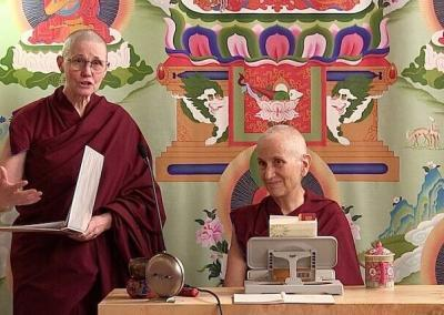 Emcee Ven. Chonyi introduces Ven. Chodron during the Abbey's first ever online Sharing the Dharma Day.