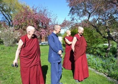Nuns look at garden.
