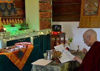 Abbess performs puja for nagas.