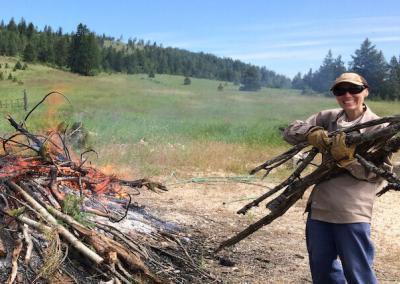 Trainee burns wood.