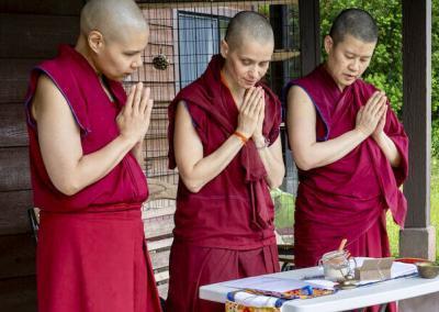 Nuns perform ceremony.