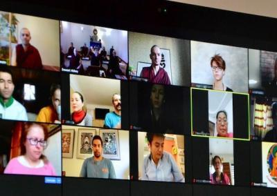 Zoom call with Friends of Sravasti Abbey Russia and Singapore.