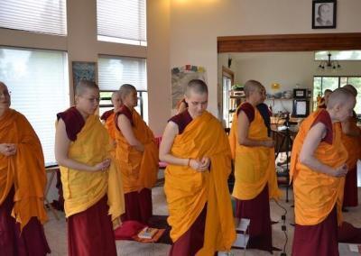 Nuns chant before teacher arrives.
