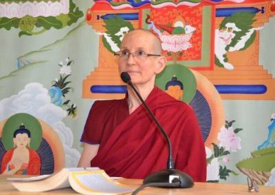 Nun leads meditation.